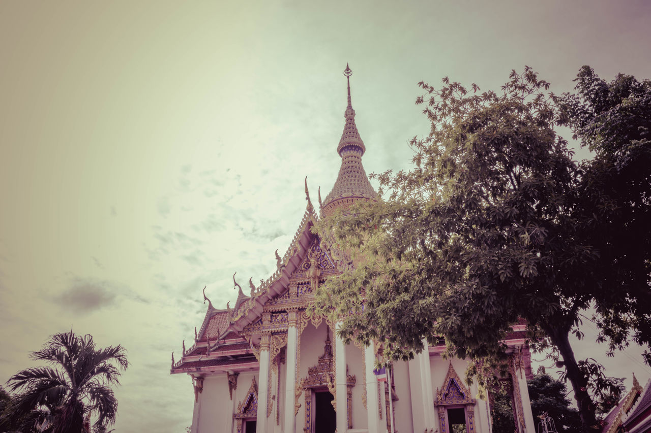 built structure, architecture, tree, building exterior, religion, place of worship, plant, belief, spirituality, building, sky, nature, no people, history, travel destinations, the past, day, low angle view, travel, spire, outdoors