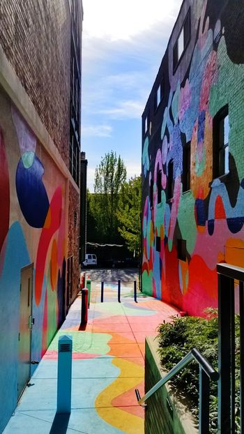 Mural Graffiti Built Structure Architecture Building Exterior Multi Colored City No People Art Background Alleyway Alley Multicoloured Mural Paintings Mural Art Building Pink Bright Day Vancouver Vancitybuzz Vancityhype Vancity British Columbia, Canada Lane Colour Your Horizn