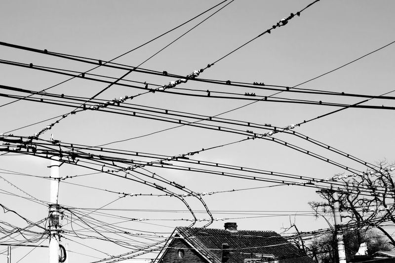 Cable Power Line  Electricity  Connection Power Supply Electricity Pylon Technology Fuel And Power Generation Complexity Telephone Line Sky Day Outdoors No People Hello World Hanging Out Streetphotography Eye4photography  EyeEm Best Shots Blackandwhite Black And White Black & White