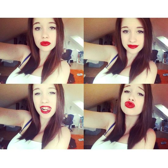 French Me Red Lips BrownHair