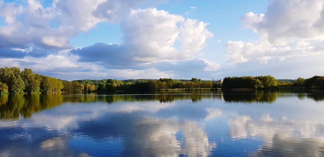 Tree Water Lake Reflection Blue Fishing Sky Landscape Cloud - Sky