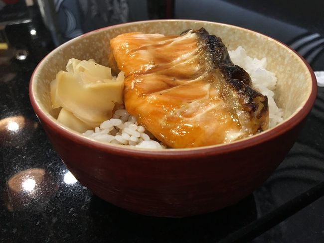 Grilled salmon rice bowl. Lovedit Yummy Good Food Good Quality Delish Restaurant Rice Bowl SalmonLove Food And Drink Bowl Food Indoors  Freshness