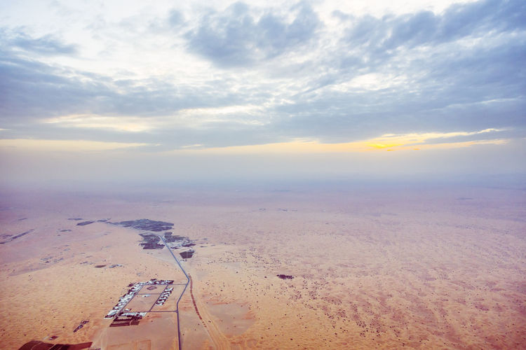 Aerial View Arabia Arabian Beauty In Nature Cloud - Sky Day Desert Dubai High Angle View Horizon Landscape Nature No People Nobody Outdoors Sand Sand Dune Sand Dunes Scenery Scenics Sky Sunrise UAE UAE , Dubai