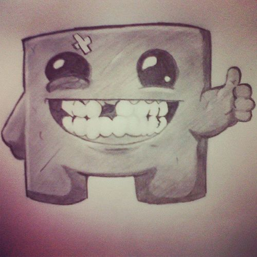 Supermeatboy Xbox Gaming Pencilsketch drawing indieartist hipster art