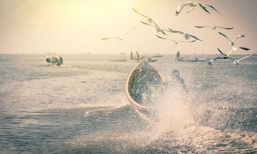 Birds flying over splashing sea against sky