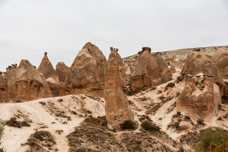 Rock formations in desert against sky