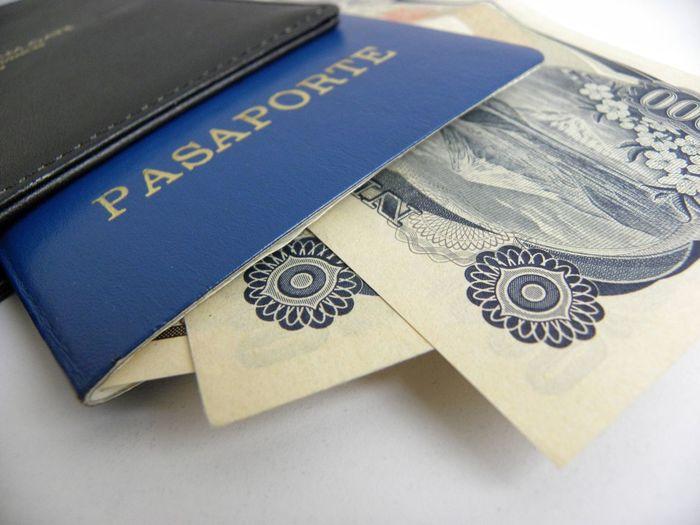 Leaving Travelling Travel Documents Passport Money Blue Passport Passport Holder Banknotes Ready To Travel Cash Identity Proof Of Identity Pay Finances