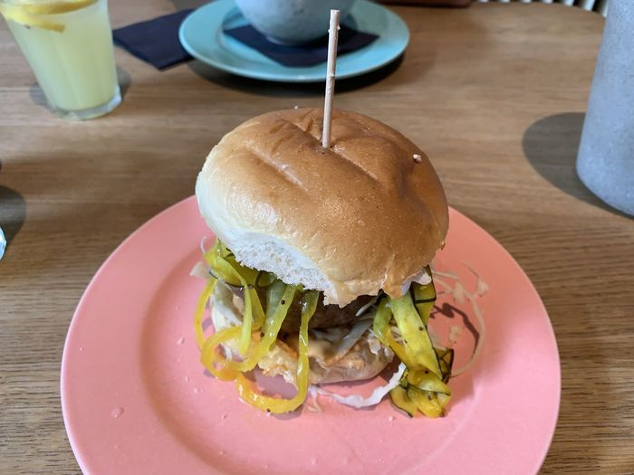 High angle view of burger in plate on table