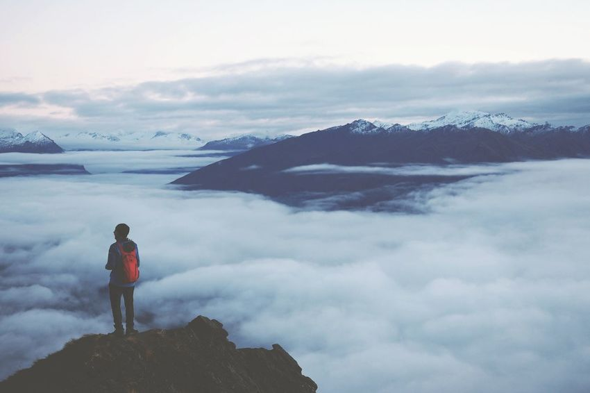 Epic, soft, wide-angle nature. Adventure Cloud - Sky One Person Landscape Exploration Mountain View Standing Backpack Hiking Discovery Nature Clouds Above The Clouds Roys Peak New Zealand Lake Wanaka Journey Walking Red Pack Lost In The Landscape EyeEmNewHere
