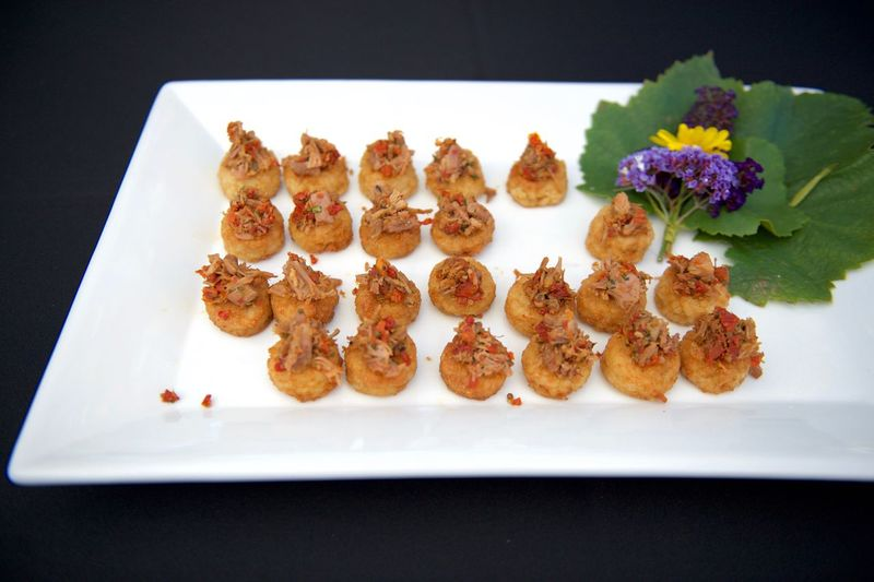 High Angle View Of Appetizers In Plate