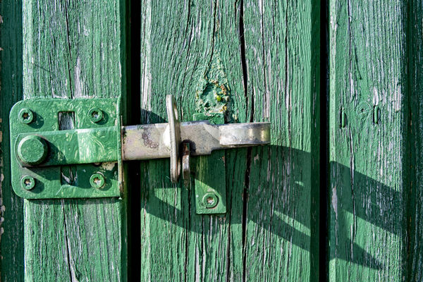 bar Bar Close-up Closed Day Door Green Colour Latch Light And Shadow Lock Locking Bars No People Outdoors Padlock Protection Safety Seal Security Wood Wood - Material