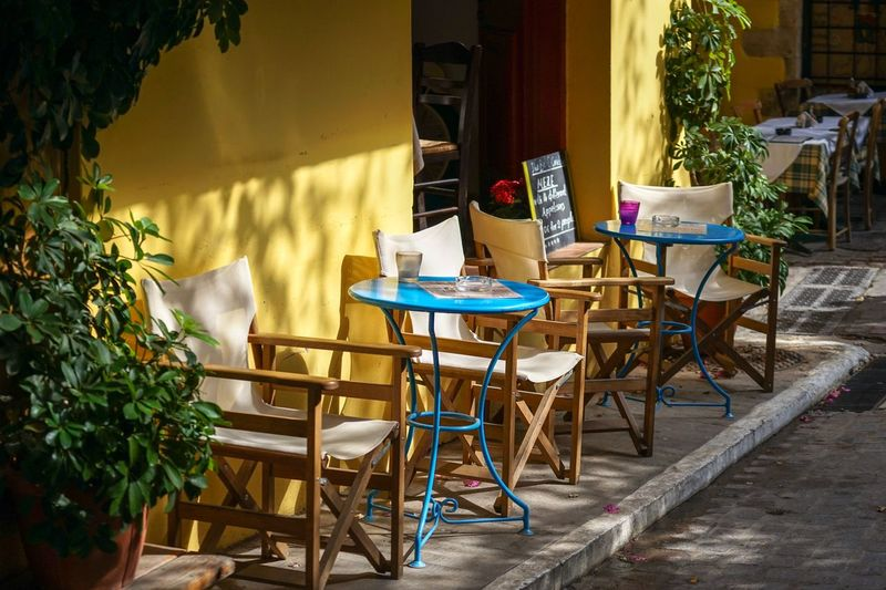 Cafe in Chania old town Chair Table No People Cafe Architecture Day Built Structure Outdoors Building Exterior