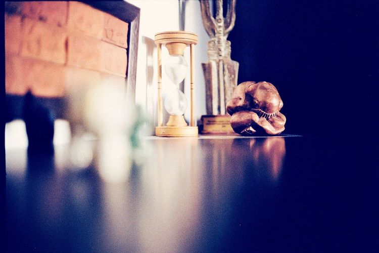 Hourglass on table