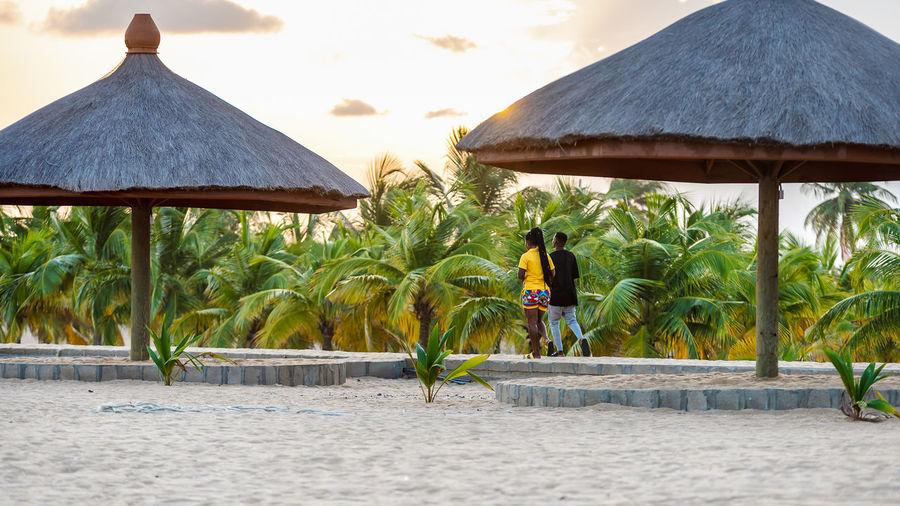 Palm trees on beach by sea against sky