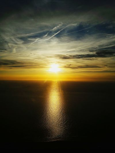 Sun Sunset Sea Sea And Sky Sea And Sun Clouds Clouds And Sky Horizon Over Water Horizon Window Seat Privileges Window Seat Planeview Adventure Colour Of Life