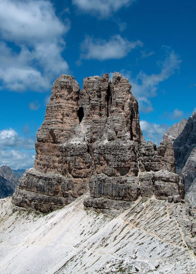 Beauty In Nature Cloud - Sky Day Dolomites, Italy Dolomiti Geology Landscape Nature No People Outdoors Physical Geography Representing Rock - Object Rock Face Rock Formation Scenics Sky Torre Di Toblin Tourism Travel Travel Destinations Vacations