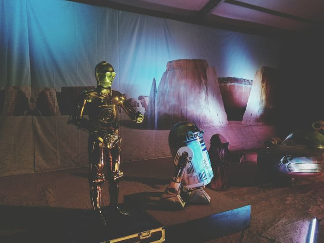 This are not the droids you're looking for Statue Indoors  Full Length Arts Culture And Entertainment Sculpture People Star Wars Ship C3p0 R2D2
