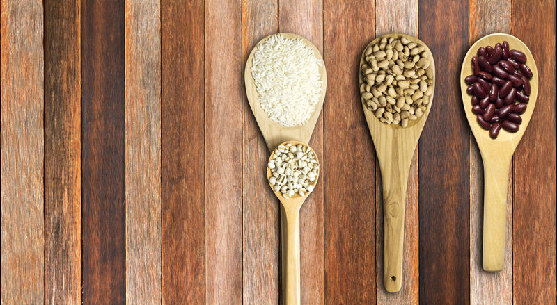 Cereal Plant Close-up Day Directly Above Food Food And Drink Healthy Eating High Angle View Indoors  Legume Family No People Protein Bar Raw Food Seed Variation Wheat Wood - Material Wooden Spoon