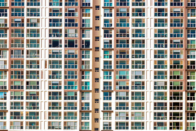 Close up of windows of an apartment building Apartment Architecture Backgrounds Building Exterior Day Full Frame No People Outdoors Window