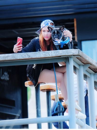 Young woman with dog taking selfie through mobile phone at sidewalk cafe