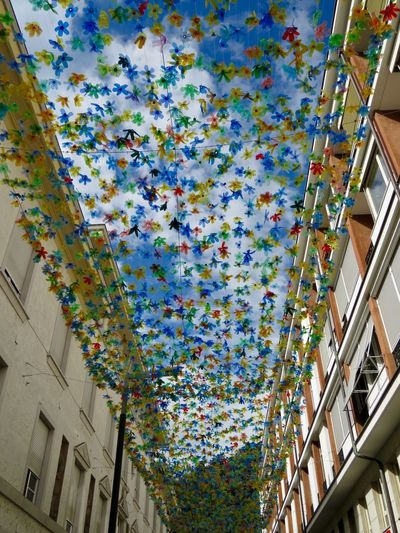 City Life Building Building Exterior Built Structure Ceiling Day Decoration Hanging Low Angle View Multi Colored No People Outdoors Plastic Recycling Sky Urbanphotography