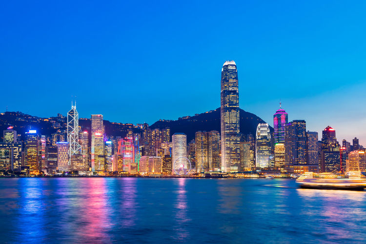 Hong Kong Victoria Harbour Night Building Victoria Harbour High-rise Building Special Administrative Region Prosperous City Financial Center Pearl Of The Orient Urban Style Tourist Attraction  China Landscape HongKong Tourism Central Shopping Haven Bustling Scenery Development Of Night View City Cityscape Urban Skyline Illuminated Modern Skyscraper Apartment Sea Business Finance And Industry Downtown District Office Building