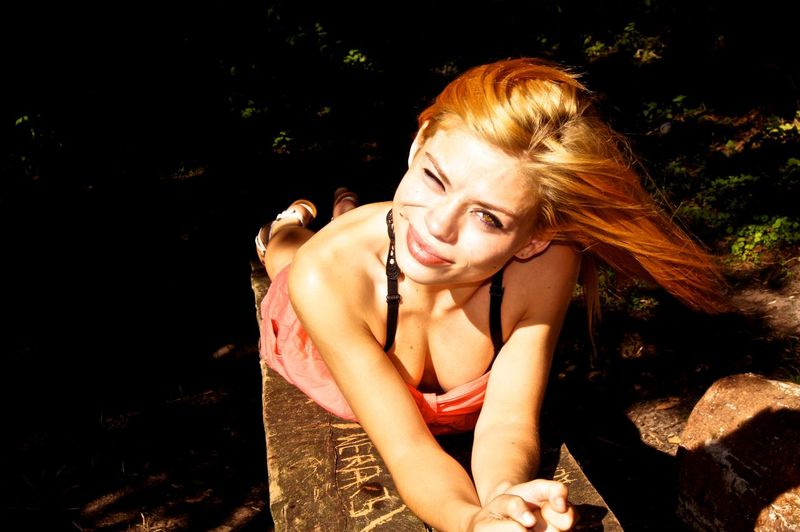 Beautiful Woman Beauty Nature Night One Person Outdoors Real People Redhead Sitting Tree Young Adult Young Women