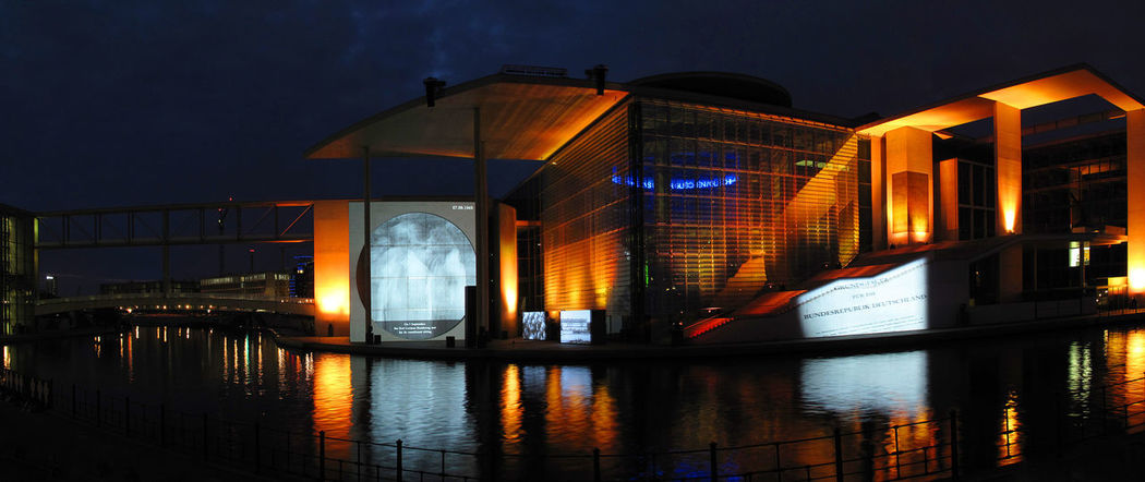 Law and Order Berlin Architecture Night Lights Panorama