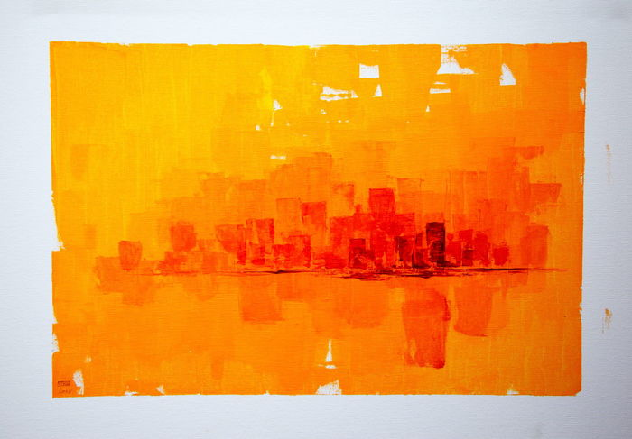 """""""City in Red and Gold"""" acrylic on canvas painted in 2005 by Thomas E. McCutcheon (1949 - 2010). Acrylic Acrylic Painting Architecture Art Artist ArtWork Building Exterior City Collection Gallery Orange Paint Painting Red Street Thomas E. McCutcheon Yellow"""