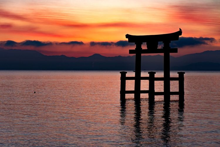 """""""Dyed to red"""" Sunset Beauty In Nature Water Nature Sky Scenics Tranquil Scene Cloud - Sky No People Lake Outdoors Day Shiga Japan Japan Photography Japanese Shrine Japanese Traditional Nikon Nikonphotography Nikon D7200 First Eyeem Photo EyeEmNewHere EyeEm Nature Lover"""