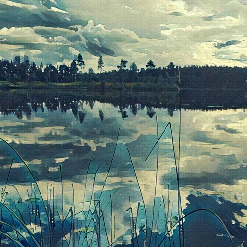 Color Palette Water Lake View Sweden Prisma App Paint Painting Blue Trees Stones Sky Hello World Taking Photos Traveling Sverige Hi! Beauty In Nature Beautiful Landscape Art Nature Nature_collection