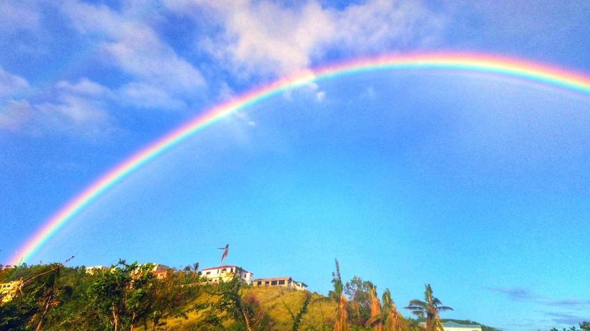 This rainbow lasted for about 20 minutes! St. Croix USVI Double Rainbow Idyllic Scenics