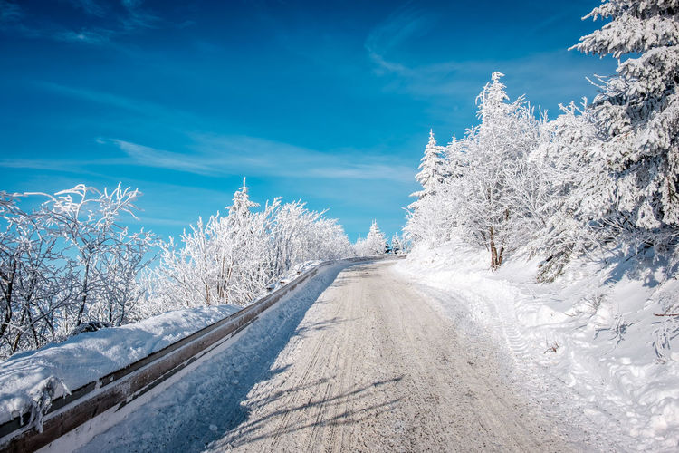 Czech Czech Republic Fairytale  Road Snowy Road Winter Blue Sky Jested Liberec No People Peaceful Snow View With Snow Winter Wonderland