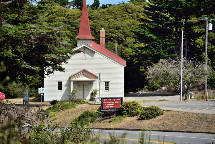 The Chapel At Fort Scott 4 Church Fort Winfield Scott Chapel Built 1941 The Presidio San Francisco CA🇺🇸 U.S.Army Military Base Non-denominational Church Seats 300 Worshipers Religous Services Morale Booster For Troops Architecture Architecture_collection Steeple Landscape Landscape_Collection Trees Road Information Signs Woodlands Nature Tranquil Scene Place Of Worship Countryside Scenics
