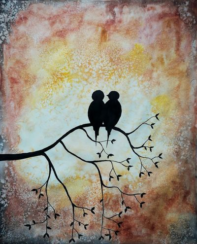 Water Color Painting Two Birds Sitting Branches And Leaves Sunset Sky No People Honor 6x Photography Close-up