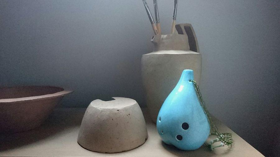 Blue Seedpod Ocarina Bass from Songbird Ocarinas an some of my old Ceramics Microstøberiet