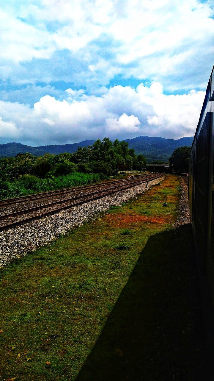 VIEW OF RAILROAD TRACK AMIDST FIELD AGAINST SKY