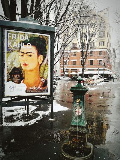 Milan,Italy Public Fountain Snow Wintertime Advertisement Arts Culture And Entertainment Frida Khalo