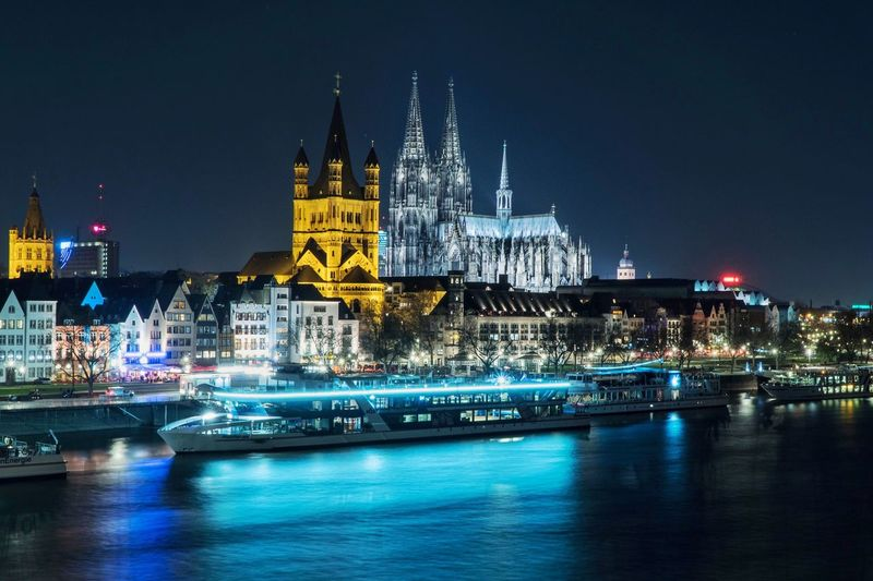 Illuminated Night Architecture Building Exterior Waterfront Travel Destinations Built Structure Sky Nautical Vessel No People Water City Outdoors Köln