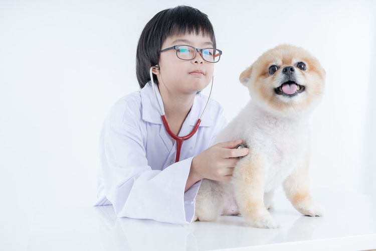 Isolated portrait of young female veterinarian with eyeglasses checking up Pomeranian dog in veterinary clinic. Studio shot of girl and puppy on white background Stethoscope  Medical Pets Domestic Domestic Animals One Animal Animal Animal Themes Mammal Occupation Indoors  Healthcare And Medicine Front View One Person Medical Equipment Doctor  Medical Exam Dog Canine Lab Coat