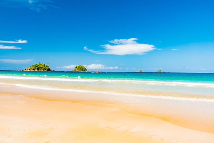 Beach Beauty Blue Cloud - Sky Nature No People Outdoors Palm Postcard Sand Sea Sky Tahiti Tranquility Travel Destinations Tropical Climate Vacations