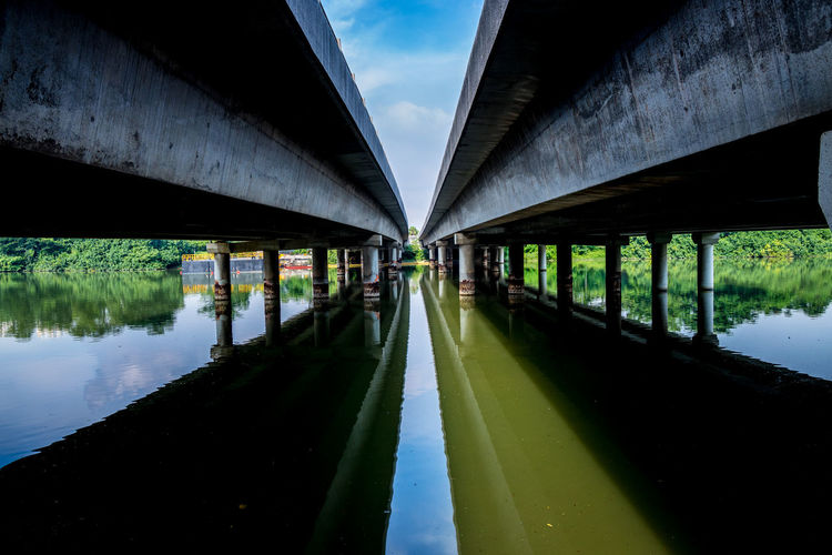 Under a bridge - along the Punggol Park Connector Bridge Over Water Under A Bridge Water Reflection Architecture Built Structure Diminishing Perspective No People Bridge Sky Cloud - Sky Nature Bridge - Man Made Structure Day Still Life Architectural Column Concrete Reflections In The Water Outdoors