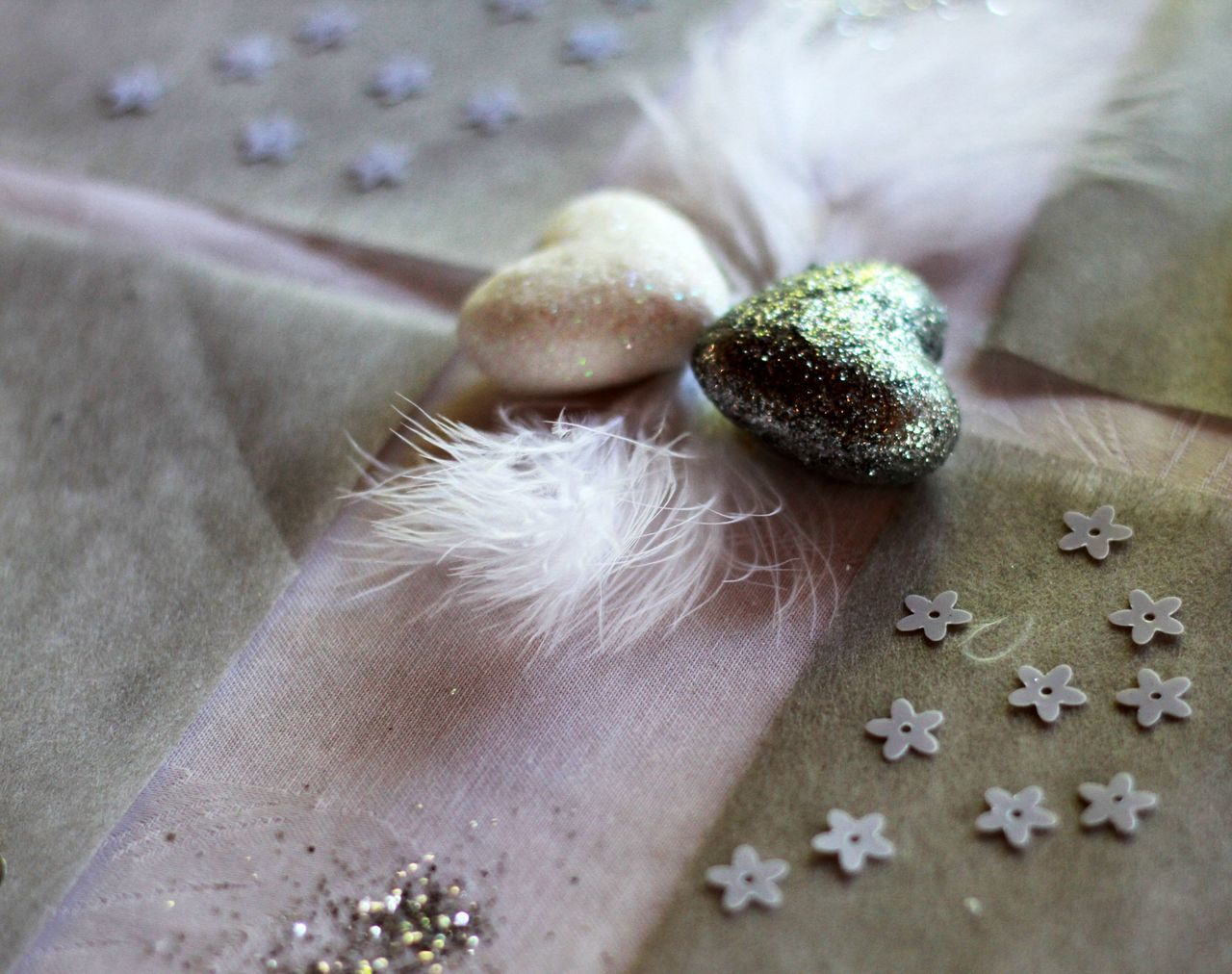 Close-Up Of Sequins And Heart-Shaped Decoration