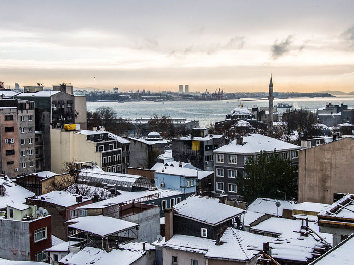 Istanbul under the snow. Istanbul Architecture Bosphorus City Cityscape Mosque No People Outdoors Sea Sky Snow