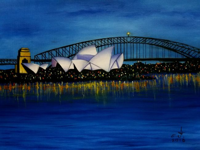 "Harbor bridge and one of the most iconic building in the world the OPERA HOUSE in Cydney Australia 2 of the most iconic landmark under the same sky, oil on canvas 18""×24"". I'm dedicating this painting to all my Australian friends particularly to QUEEN-RAYAN who is the inspiration behind this canvas, thanks dear Queen-Rayan and i hope you enjoy my work. Sky Architecture City Water Built Structure Building Iconicbuildings Creativity Fine Art Painting Drawing Fine Art Painting Beauty Art, Drawing, Creativity Art My Art Collection Freedom Save The World ✌🏻🌎🌹 Speak Up Against Injustice Friendship ❤ Love❤ Koi with My Best Friends ❤"