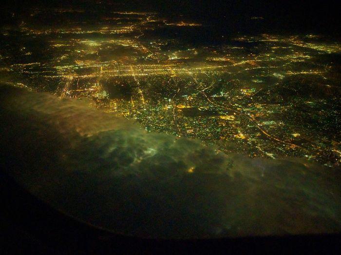A Bird's Eye View Fog Rollin' In San Diego Night Flight