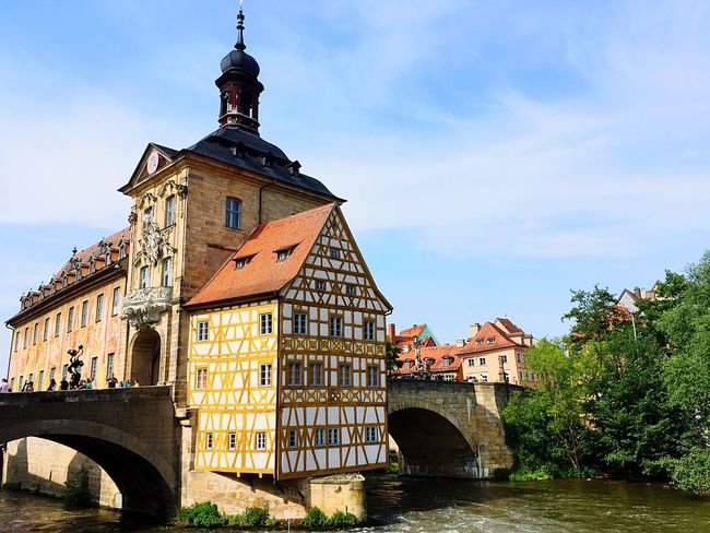 Rathaus Bamberg Bluesky Germany German Mittelfranken Regnitz Bamberg Rathaus Bamberg Klein Venedig (Little Venice) Bayern Bamberg  Rathaus Built Structure Architecture Building Exterior Sky Building Nature No People Clock Outdoors Cloud - Sky Day Tower
