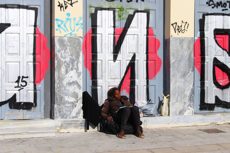 Athens Built Structure City City Life Day Graffiti Graffiti Art Graffiti Wall Graffitiporn Greece Homeless Lifestyles Portrait Urban Urban Lifestyle Urbanphotography Woman