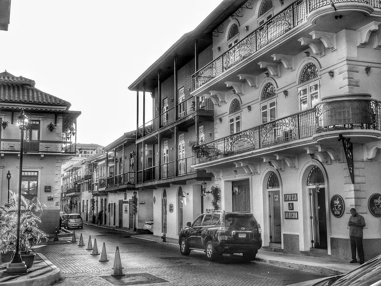 Architecture Building Exterior Built Structure Car Outdoors Colonial Architecture Colonial Town Casco Antiguo, Panamá Casco Viejo Panama Balconies Around The World Windows And Doors Windows_aroundtheworld Blackandwhite Photography The Week On EyeEm This Is Latin America