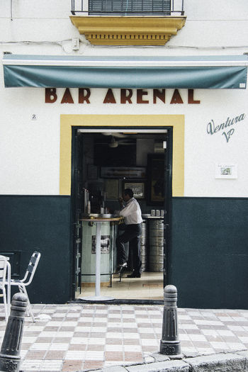 Architecture Bar Coffee Door Men People And Places SPAIN Standing